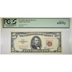 1963 $5 LEGAL TENDER STAR NOTE PCGS 65 PPQ