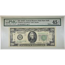 1934 D $20 FR#2058-B* STAR NOTE WIDE PMG XF 45 EPQ