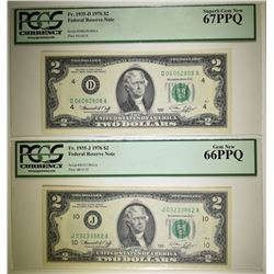 2 1976 $2 NOTES SCARCE DISTRICTS PCGS GRADED