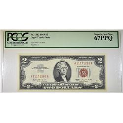 1963 $2 RED SEAL PCGS 67 PPQ