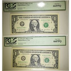 2 2003 A $1 FRN STAR NOTES PCGS 66 PPQ