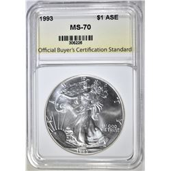 1993 AMERICAN SILVER EAGLE, OBCS PERFECT GEM BU