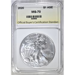 2020 AMERICAN SILVER EAGLE, OBCS PERFECT GEM BU
