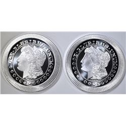 2-ONE OUNCE .999 SILVER ROUNDS STACKABLE MORGAN