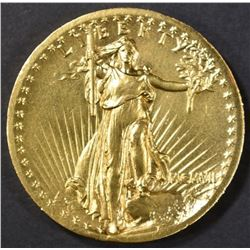 1907 HIGH RELIEF WIRE EDGE $20 GOLD AU/BU