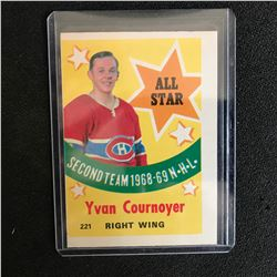 1969-70 O-PEE-CHEE OPC #221 YVAN COURNOYER SECOND TEAM ALL STAR 1968-69