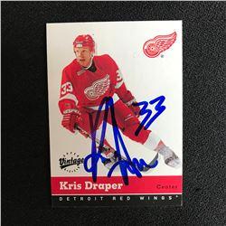KRIS DRAPER SIGNED UPPER DECK VINTAGE HOCKEY CARD