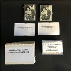 "BASEBALL TRADING CARDS LOT (1992 SCORE ""MICKEY MANTLE"" INSERT SET 1-30...)"