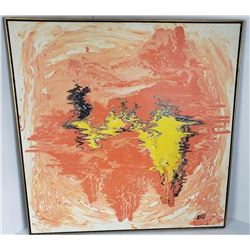 1970's Pychadelic Abstract Painting Signed Ellis