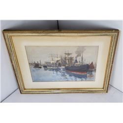 Harbor Watercolor Painting Harold Wane (1879-1900)