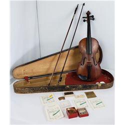 Antique Stradivarius Violin in Coffin Case 2 Bows
