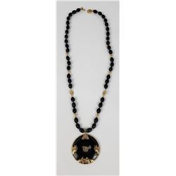 Antique Chinese 14k Gold Black Jade Necklace