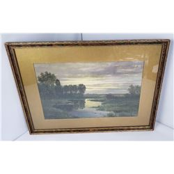 Donald Foster American Marsh Watercolor Painting