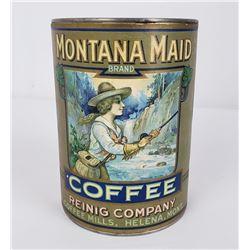 Rare Original Montana Maid Coffee Can Helena