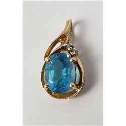 10k Gold Blue Topaz Necklace Pendant