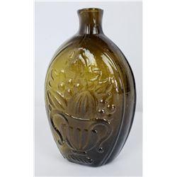 Early American Olive Green Cornucopia Bottle Flask
