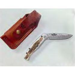 DONATION LOT - KING RANCH BRANDED ANTLER HANDLE LION KNIFE