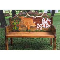 DONATION LOT - PAINTED LONGHORN BENCH