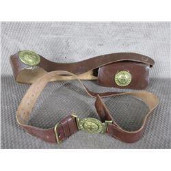 "2 leather belts one with pouch ""The Boys Brigade"""