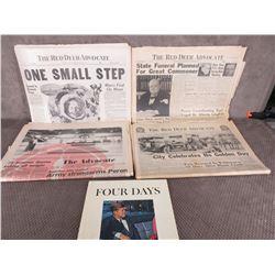 4 Vintage Red Deer Advocate Newspapers & Kennedy Book