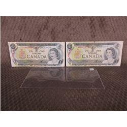 2 - 1973 Canadian 1 Dollar Bills