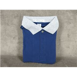 Golf Style Shirt 100% Cotton Blue Large