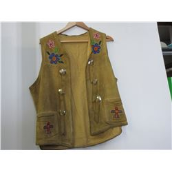 Native American Leather Vest with Bead Work