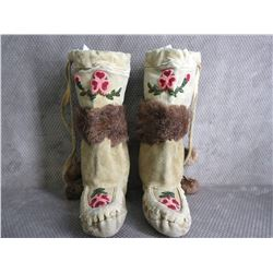 Native American Leather Moccasins with Bead Work