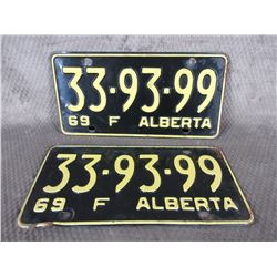 Set of Alberta 1969 License Plates