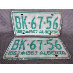 Set of Alberta 1967 License Plates