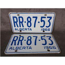 Set of Alberta 1966 License Plates