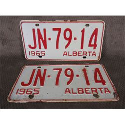 Set of Alberta 1965 License Plates