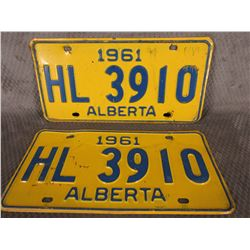Set of Alberta 1961 License Plates