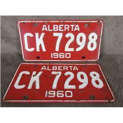 Set of Alberta 1960 License Plates