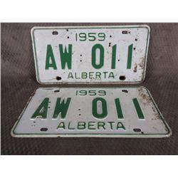 Set of Alberta 1959 License Plates