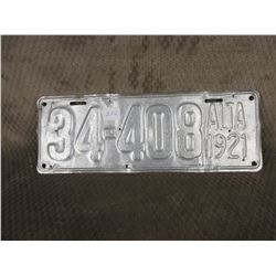 Single Alberta 1921 License Plate painted silver