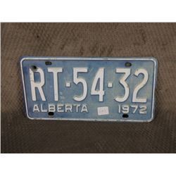Single Alberta 1972 License Plate