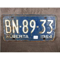 Single Alberta 1964 License Plate