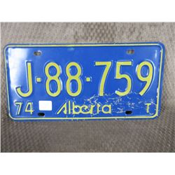 Single Alberta 1974 License Plate