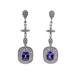 4.99 ctw Tanzanite and Diamond Earrings - 14KT White Gold