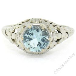 Antique Art Deco 18kt White Gold Round Aquamarine Solitaire Floral Filigree Ring