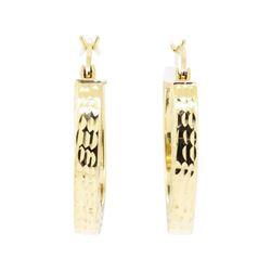 20mm Diamond Cut Hoop Earrings - 14KT Yellow Gold