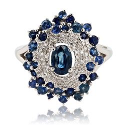 1.65 ctw Blue Sapphire and 0.14 ctw Diamond 14K White Gold Ring