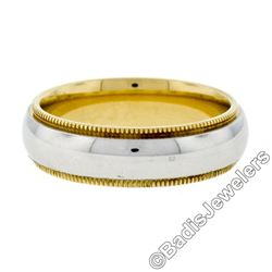 Men's 18kt White and Yellow Gold 5.5mm Milgrain Edged Band Ring