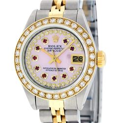 Rolex Ladies 2 Tone Yellow Gold Pink MOP Ruby String Diamond Datejust Wristwatch