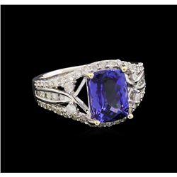 14KT White Gold 2.53 ctw Tanzanite and Diamond Ring
