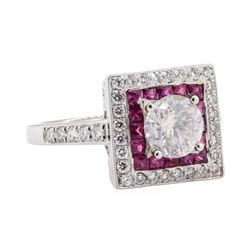 0.68 ctw Ruby and Diamond Ring - Platinum