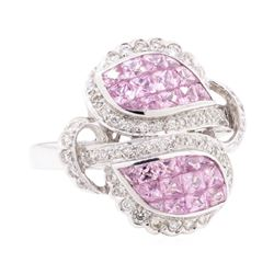 2.40 ctw Pink Sapphire And Diamond Ring - 18KT White Gold