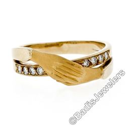 Carrera y Carrera 18kt Yellow Gold 0.16 ctw Diamond and Folded Hands Band Ring