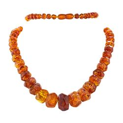 Thirty Three and a Half Inch Vintage Faceted Baltic Amber Necklace